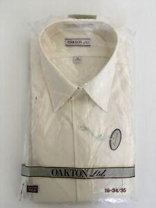 VTG Oakton Ltd Single Needle Tailoring Sz 16-34/35 Long Sleeve Cream Shirt USA