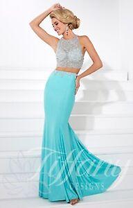 NWT Size 4 Aqua Mint two piece JEWELED Prom gown Tiffany 16082 formal sheath