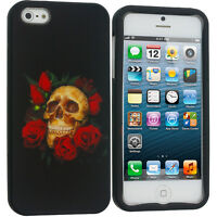 For iPhone 5S 5 5G Hard Snap-On Design Case Cover Red Rose Skull