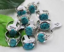 wholesale 10p Thick  Silver mixed turquoise rings Jewelry 6-10 Y175