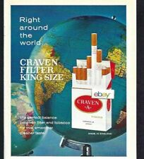 """CRAVEN """"A""""  FILTER CIGAREETES RIGHT AROUND THE WORLD MADE IN ENGLAND 1965 AD"""