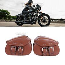 Brown Motorcycle PU Leather Side Saddle Bag for Harley Davidson Sportster XL