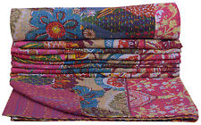 HANDMADE PATCH WORK BEDSPREAD TWIN KANTHA QUILT THROW BLANKET INDIAN RALLI Decor