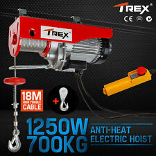 T-rex 700kg Electric Hoist Winch 240v Cable Lift Tool Remote Chain Lifting Rope