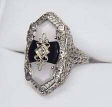 14K ART DECO Camphor Glass Onyx Diamond Antique Ring White Gold Filigree Navette