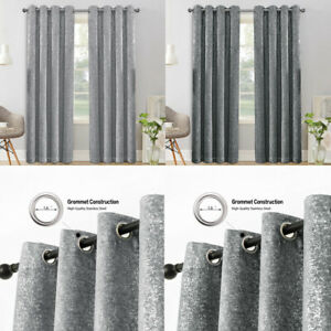 Thick Ready Made Heavy Metallic Curtains Thermal Blackout Ring Top Eyelet Drapes