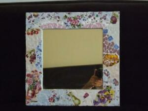 "Mosaic Mirror Floral 16"" x 16"" EXC"