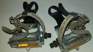 MKS AR-8 Silver Pedals with Black Christophe Cages and white Specialized Straps