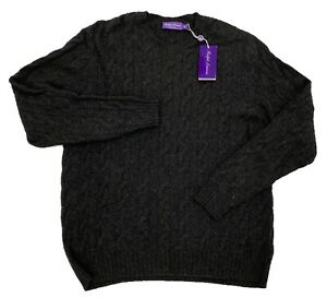 $1,000 Ralph Lauren Purple Label Charcoal  Cashmere Sweater XXL Made In Italy