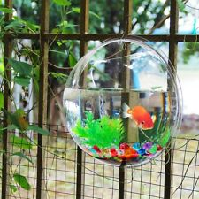 Glass Fish Bowl Wall Hanging Aquarium Goldfish Betta Tank Accessories Blue Decor