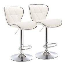 Pemberly Row Shell Back Adjustable Swivel Bar Stool in White (Set of 2)