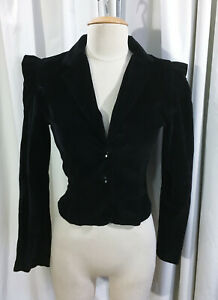 Vintage 80s Black Velvet Fitted Jacket Dotted White Dot Cropped Crop Long Sleeves Women Luxurious Evening Gold Buttons Blazer Retro M L