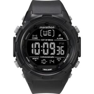 Timex TW5M22300, Men's Marathon Black Resin Watch, Indiglo, Day/Date, Alarm