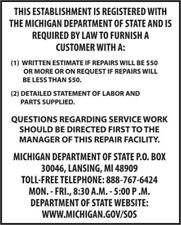Michigan Consumer Information Auto Repair Poster Vinyl Banner Auto Shop Display