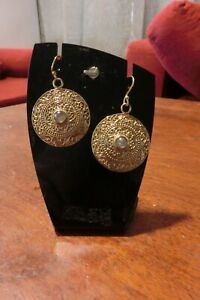 Gold plated moon stone earings