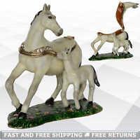Horse & Baby Ring Trinket Box with Hinged Lid Enamel Jeweled Keepsake for Girls