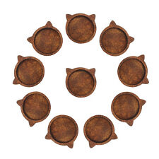 10pcs Wood 12mm Cat Head Bezel Tray Settings Glass Demo Cover Flatback Decor