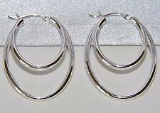 STERLING SILVER (925) OVAL DOUBLE HOOP LADIES CREOLE EARRINGS