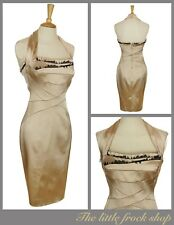 KAREN MILLEN gold eyelash satin pencil wiggle halter neck dress size 12 40 US 8