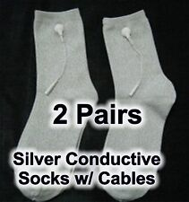 2X 2 pairs Silver Conductive Socks w TENS cables - Feel Calm and Sleep Better!