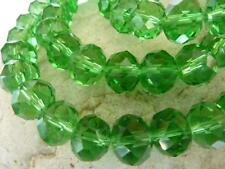 60 pce Christmas Green Faceted Crystal Cut Abacus Glass Beads 10mm x 7mm