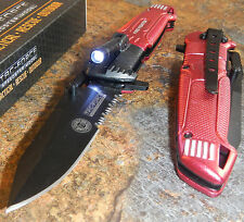 TAC-FORCE RED FIRE FIGHTER Spring Assisted Open RESCUE LED LIGHT Pocket Knife