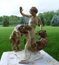 "HUTSCHENREUTHER Signed Karl Tutter ""JEALOUSY""  Figurine NUDE WOMAN w/ TWO BEARS"