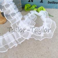 5/10Yards White Organza Lace Edge Trim Gathered Pleated Chiffon Wedding Sewing