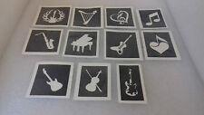30 x musique thème pochoirs de tatouage note de musique guitare