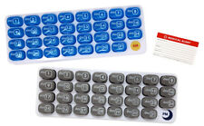 AM/PM 31-Day Monthly Pill Organizer Pods with Tray BLUE AND GREY