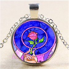Beauty and the Beast Rose Cabochon Glass Tibet Silver Chain Pendant Necklace