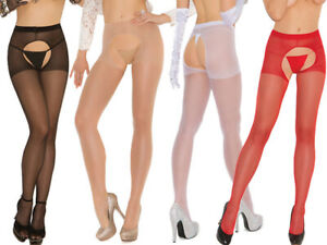 Elegant Moments Sheer Crotchless Suspender Tights/Pantyhose