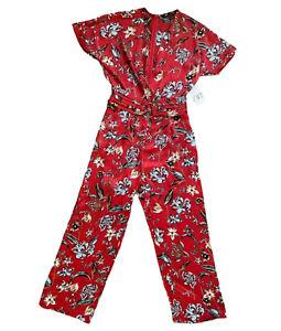 NWT Zara Floral Jumpsuit/Pantsuit Short Sleeve Belted Wide Leg Size Medium Red