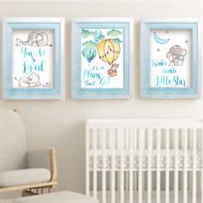 Elephant And Bunny Rabbit Boys Nursery Prints Set of 3, Boys Room Wall Art Decor