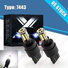 PAIR 7443 7440 LED White Reverse Backup Brake Tail Stop Parking Lights Bulbs Kit