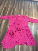 Vicky Tiel Women's Pink Long Sleeve Wrap Dress Sise 2X