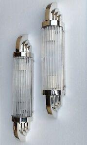 Pair Vintage Art Deco Nickel Brass & Glass Ship Light Fixture Wall Sconces Lamp