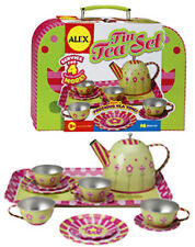 *NEW IN CUTE CARRY CASE* 16 Piece Tin Tea Set by ALEX in Pink Carry Case