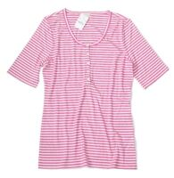J Crew Factory - Women's XS - NWT - Pink & White Striped Ribbed Knit Henley Tee