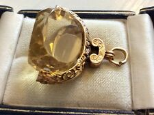 Fabulous Antique Victorian Hallmarked 9CT Gold Huge Citrine Spinner Fob Pendant