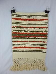 """Vtg Mid Century Fiber Textile Wall Hanging Art Natural and Rust colors 18"""" x 30"""""""