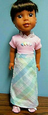 """Easter Plaid Skirt Set made to fit  14.5"""" Wellie Wishers dolls   4+"""