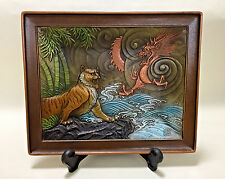 Japanese Copper plate crafts/Tiger and Dragon/Asian Antiques Bronze Figurine