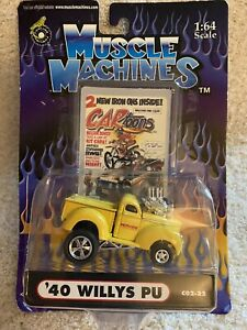 MUSCLE MACHINES CARTOONS 1:64 SCALE YELLOW '40 WILLYS PU NEW