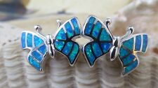 SPARKLING  STERLING SILVER BLUE OPAL BUTTERFLY POST EARRINGS