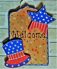 Americana Hat & Star Welcome Sign Wall Art Door Hanging Hanger Plaque Patriotic