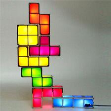 Retro Style Tetris Jigsaw Puzzle Constructible Stackable LED Light Desk Lamp