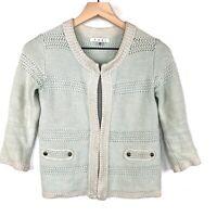 Cabi Size XS Long Sleeve Society Mint Green Cardigan Sweater #203