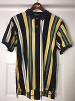 Vintage 90s Nautica Color Block Striped  Polo  Shirt Blue Green Wht Yellow Sz.LG