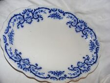 ANTIQUE GRINDLEY PORTMAN FLOW BLUE BLUE WHITE OVAL SERVING PLATTER 19TH CENTURY